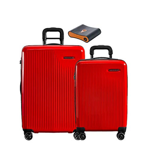 Briggs & Riley Sympatico 3-Pc Set: Intl C/O, Medium Spinner, Portmantos Tracking Device (Fire)