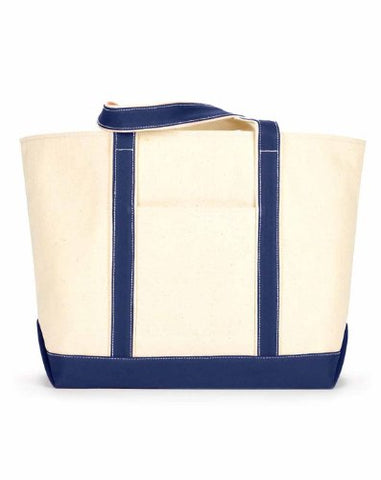 Ultraclub 8872 Uc Lg Cotton Canvas Tote - Natural/ Navy - One