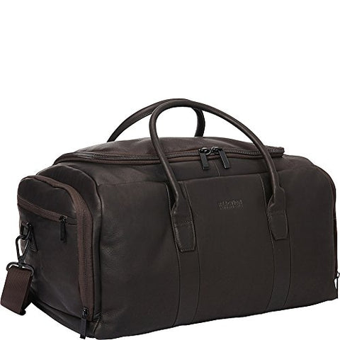 "Kenneth Cole Reaction Colombian Leather U-Shape Zipper Top Load Duffel Bag, 20"", Brown"