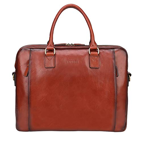 Banuce Vintage Full Grains Italian Leather Briefcase for Women Business Tote Attache Case Messenger