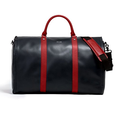 Project 11 Garment Weekender Black Leather with Red accents bag by Hook & Albert