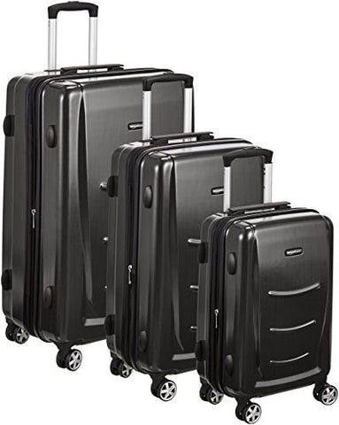 "Amazonbasics Hardshell Spinner Luggage - 3-Piece Set (20"", 24"", 28""), Slate Grey"