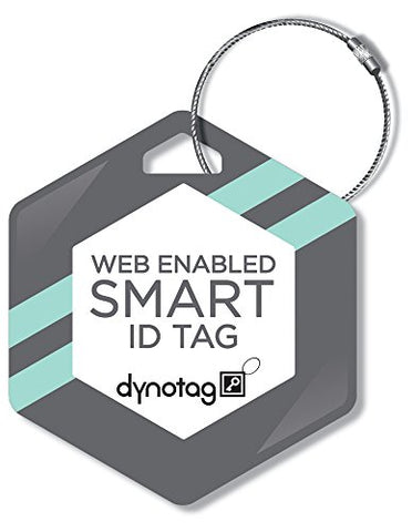 Dynotag Web/GPS Enabled QR Smart Deluxe Steel Luggage Tag & Braided Steel Loop - Hexagon (Geometric)