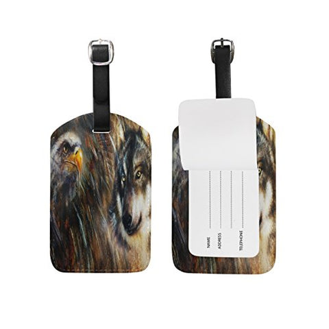 GIOVANIOR Wolf And Eagle Feathers Color Painting Background PU Leather Luggage Bag Tags Suitcase