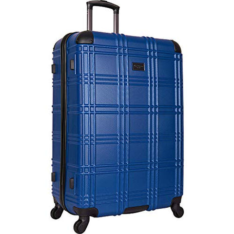 "Ben Sherman Nottingham 28"" Lightweight Durable Hardside 4-Wheel Spinner Checked Suitcase, Cobalt"