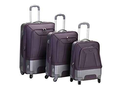 Rockland Luggage Rome Polycarbonate 3 Piece Luggage Set, Lavender, One Size
