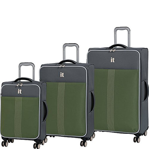It Luggage Filament 8 Wheel Lightweight Expandable 3-Piece Set, Steel Gray/Loden Green