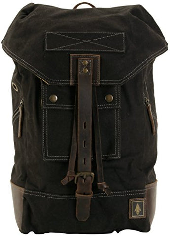 Damndog Canvas & Leather Rucksack Backpack - Tar Black