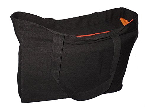 Extra Large Travel Day Tote Bag Heavy Duty Cotton Twill Zip Top (Charcoal  Gray) 833b4070fd0d5