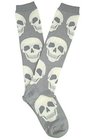 Loungefly White Skulls Gray Knee High Socks