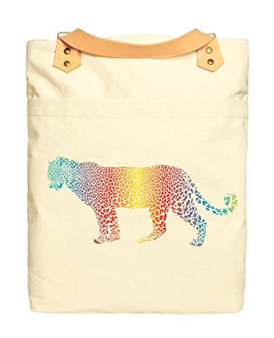 Unisex Rainbow Cheetah Beige Print Canvas Leather Strap Laptop Backpack Was_34