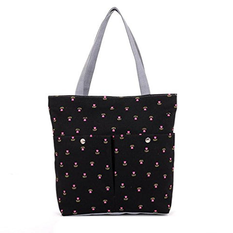 Bibitime Printing Tulips Flowers Tote Bag For Women Canvas Messenger Shoulder Bags Flower