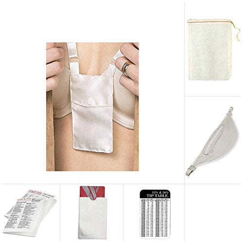 Womens Design Go Money Belt And Bra Stash With Rfid Card Sleeve Travel Set