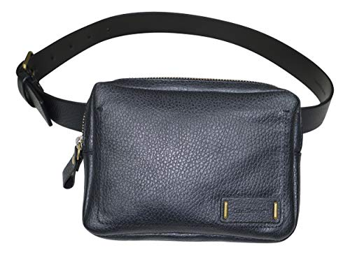 Calvin Klein Pebbled Genuine Leather Fanny Pack Belt (Black, X-Small)