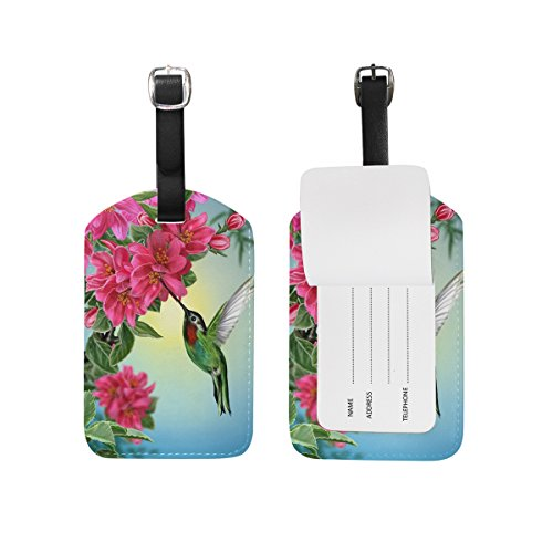 MRMIAN Flower Bird Hummingbird Luggage Tag for Baggage Suitcase Bag Leather 1 Piece