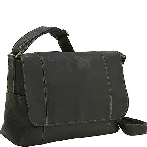 Ledonne Leather Flap Over Shoulder Bag, Black