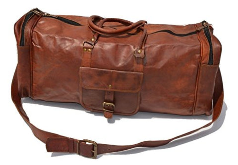 "25"" Men'S Genuine Leather Vintage Duffle Gym Large Travel Weekend Luggage Bag"