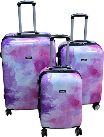 Kemyer 788 Vintage World Series Lightweight 3-PC Expandable Hardside Spinner Luggage Set (Marble)
