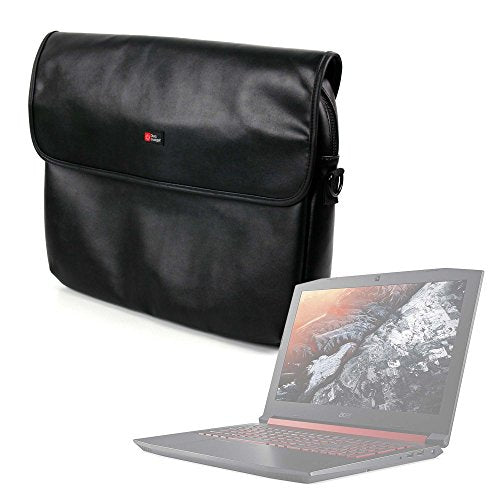 "DURAGADGET Luxury PU Leather 15.6"" Laptop Zip-up Carry Bag in Black for The Acer Nitro 5"