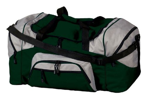 Port & Company Color Block Sport Duffel Bag, Hunter/Grey, One Size