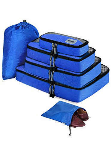 Packing Cubes for Travel Compression Accessories - Luggage Carry on Suitcases - Large Packing Organizers 6 Set - Waterproof Tote Mesh Bags Gear Shoe & Toiletry Bag for Weekend,Business,Camping,Hiking