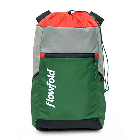 Flowfold Lightweight Packable Cinch Pack Minimalist Backpack - Made In Usa - Green & Silver