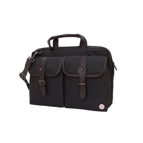 Token Bags Waxed Knickerbocker Laptop Bag 13 Inch, Dark Brown/Dark Brown, One Size