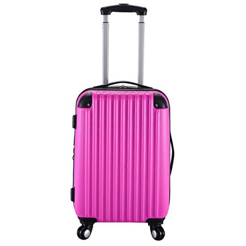 "GHP 15.2""x10.4""x22.4"" Pink Scratch-resistant Lightweight & Durable Trolley Suitcase"