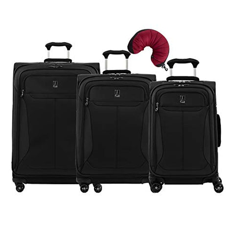 Travelpro Tourlite 4-Piece Set: 21, 25, 29-Inch Spinners and Travel Pillow (Black)