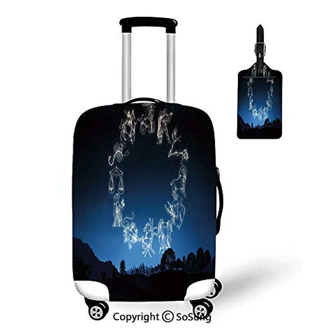 "Astrology Travel Suitcase Protective Cover,Fit for 18-22"" luggage,Dark"