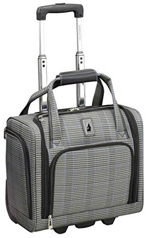 "London Fog Knightsbridge II 15"" 2-Wheel Under The Seat Bag, Grey Sapphire Plaid"