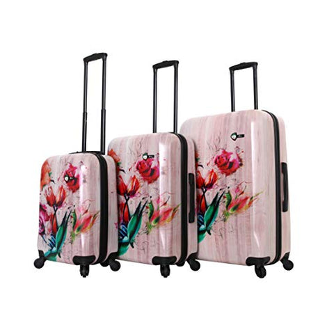Mia Toro Italy Painted Hardside Spinner Luggage 3pc Set,Wood Humbird