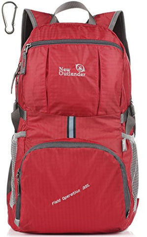 Outlander Packable Lightweight Travel Hiking Backpack Daypack (New Red)