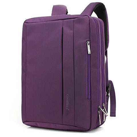 CoolBELL 17.3 inches Convertible Laptop Messenger Bag Oxford Cloth Shoulder Bag Backpack Multi-Functional Briefcase For Laptop / Macbook / Tablet Women (Purple)