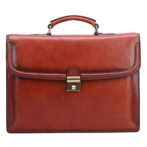 Banuce Vintage Full Grain Italian Leather Briefcase for Men Business Tote Lock Lawyer Attache