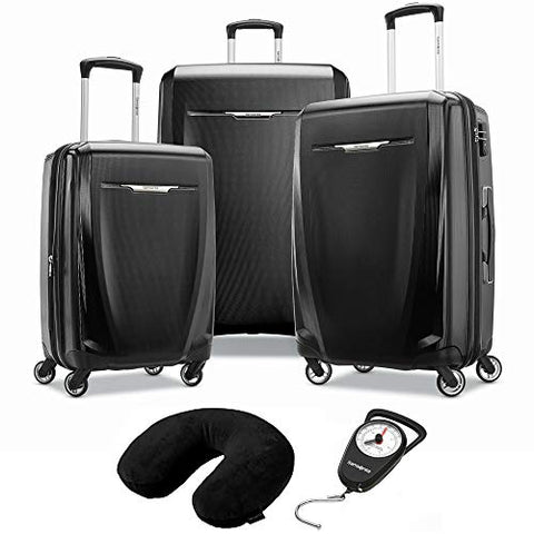 Samsonite Winfield 3 DLX 3 Piece Set Spinner 20/25/28 Black (120751-1041) Manual Luggage Scale & Microbead Neck Pillow Black