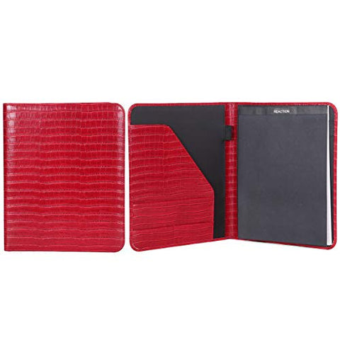 Kenneth Cole Reaction Faux Croco Leather Standard Bifold Writing Pad, Red