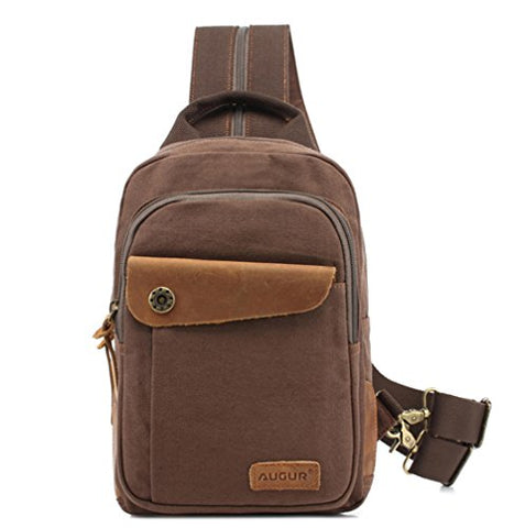 Men's Cotton Canvas Backpack Multi-functional Bag with Leather Fashion Shoulder Bag Chest Bag