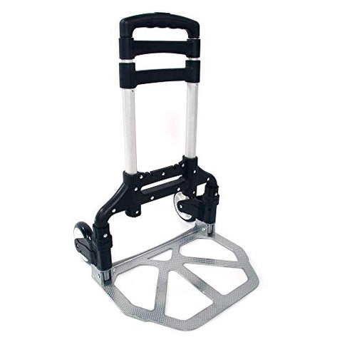 GHP 165.35-Lbs Capacity Black Aluminium Alloy PVC & PP Portable Floding Push Cart Dolly