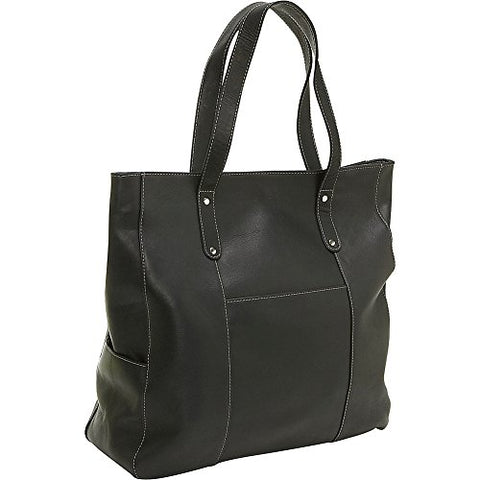 Ledonne Leather Large Slip Pocket Tote, Black