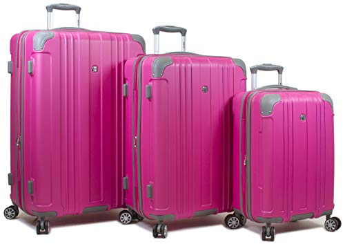 Dejuno Kingsley Abs 3-Piece Hardside Spinner Luggage Set-Pink