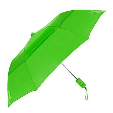 "Strombergbrand ""Travelers"" Auto-Open, Folding Compact Umbrella With Vented Canopy,, Lime Green, One"