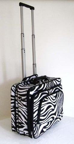 "16"" Computer/Laptop Briefcase Rolling Wheel Luggage Upright Padded Bag Zebra"