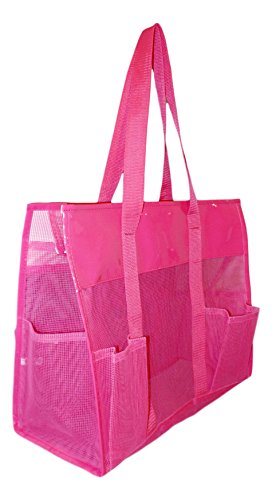 101 BEACH Waterproof Mesh Shopper Utility Beach Bag Zipper Organizing Tote bag (Pink)