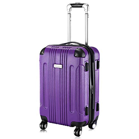 "Goplus 20"" ABS Carry On Luggage Expandable Hardside Travel Bag Trolley Rolling Suitcase GLOBALWAY (Purple)"