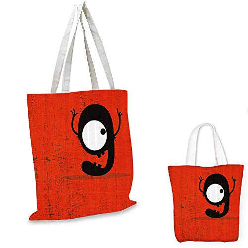 Red Decor canvas messenger bag Cartoon Style Illustration of Letter G Monster on Grunge