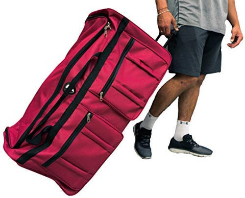 Gothamite 36-inch Rolling Duffle Bag with Wheels | Luggage Bag | Hockey Bag | XL Duffle Bag With Rollers | Heavy Duty 1200D Polyester (Fuchsia)