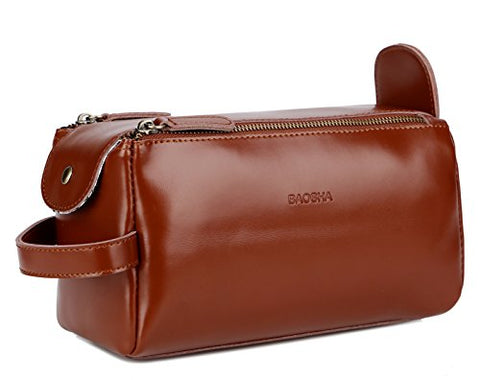 BAOSHA XS-03 Leather Travel Toiletry Bag Shaving Dopp Kit Cosmetic Organizer Bags For Men and Women (Brown)