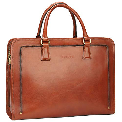 Banuce Womens Full Grains Leather Briefcase Business Satchel Bag for 14 Laptop Attache Case Brown