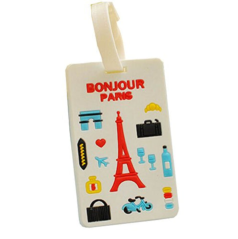 Set Of 2 Retro Travel Accessories Travel Square-Shape Luggage Tags, Eiffel Tower
